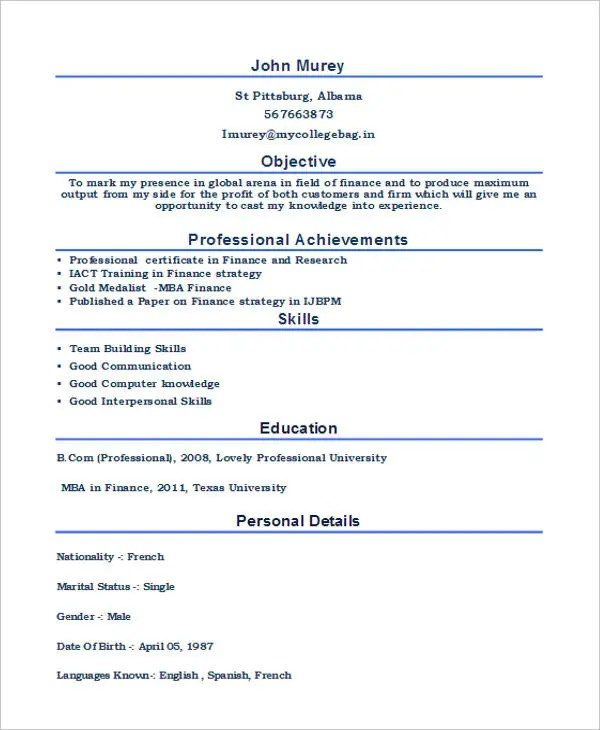 mba fresher resume pdf - Goalgoodwinmetals