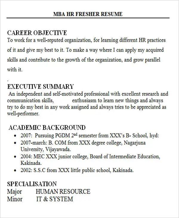 sample resume objective for mba application