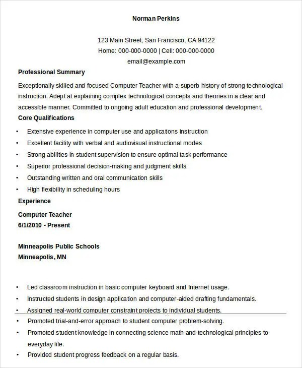 Sample Cv For Computer Teacher - Computer Teacher Resume