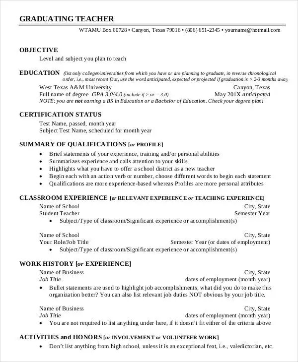 29+ Basic Teacher Resume Templates - PDF, DOC Free  Premium Templates