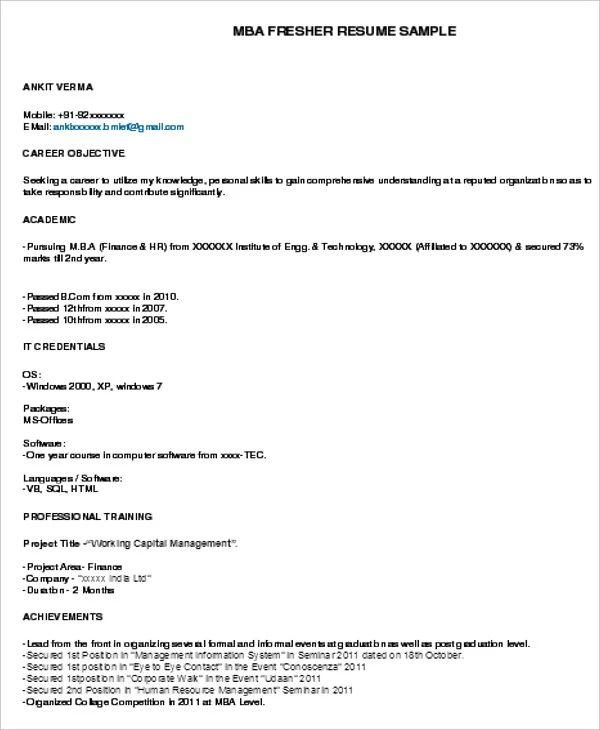 net fresher resume samples