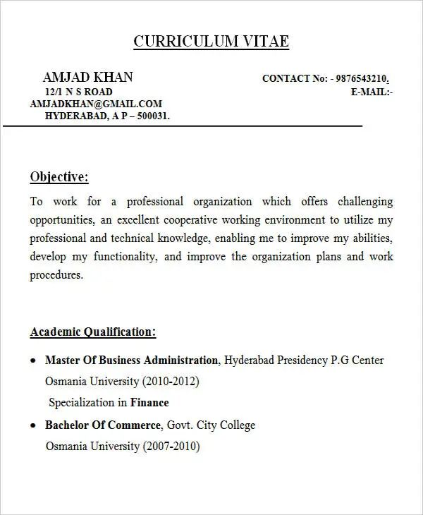 resume career objective for mba