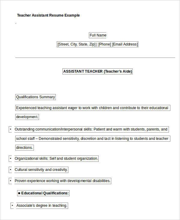 Teacher Resume Sample - 32+ Free Word, PDF Documents Download Free