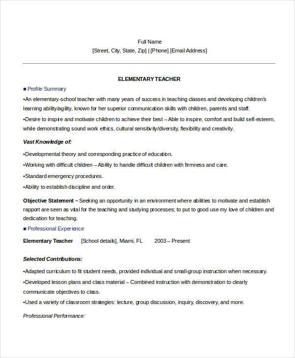experienced teacher resume example