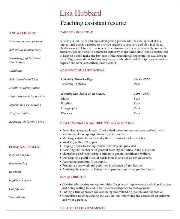 Teacher Resume Sample - 32+ Free Word, PDF Documents Download Free - Teaching Assistant Resume Sample