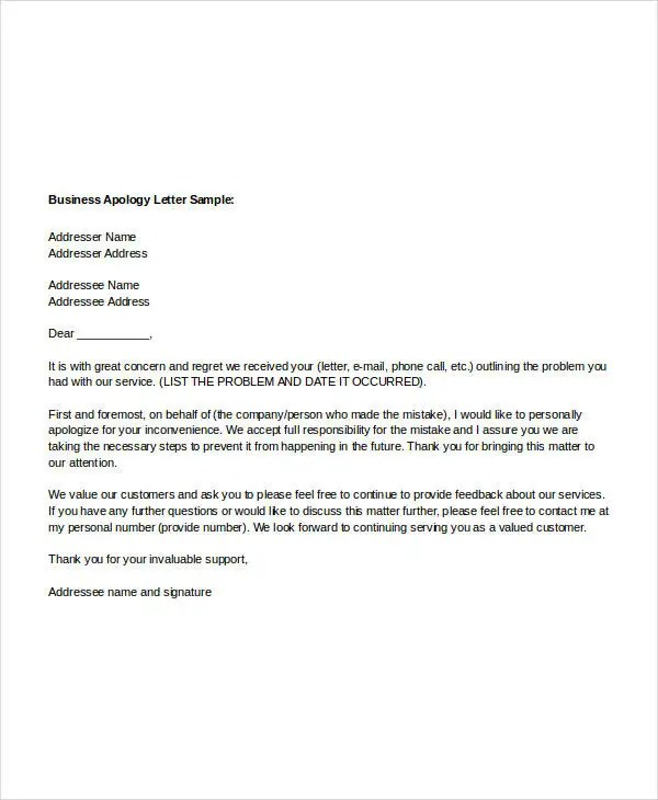 Sample Apology Letter Templates - 13+ Free Word, PDF Documents - letter of apology sample