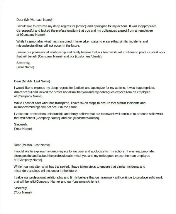 Sample Apology Letter Templates - 13+ Free Word, PDF Documents - Letter Of Apology To Your Boss
