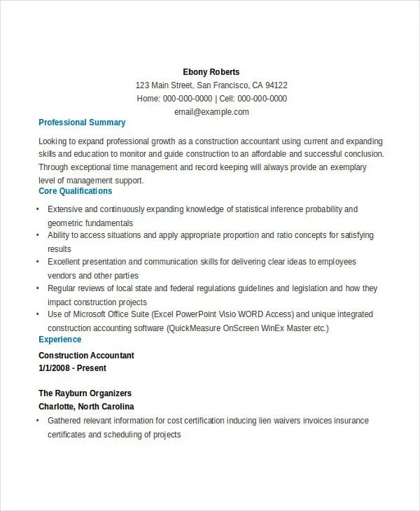 resume format for accountant