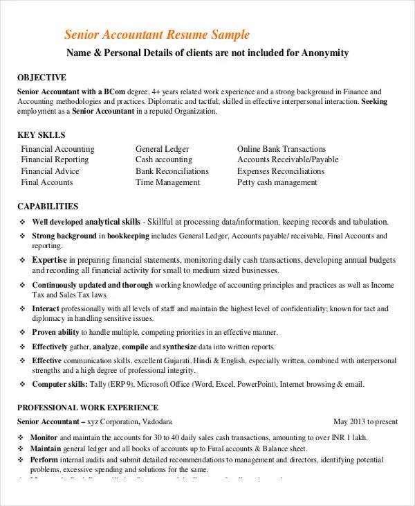 senior accountant resume examples