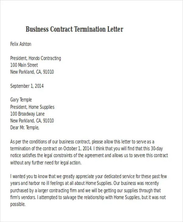 Business contract termination letter template resume template 32 termination letter examples free premium templates business contract termination letter template altavistaventures Image collections