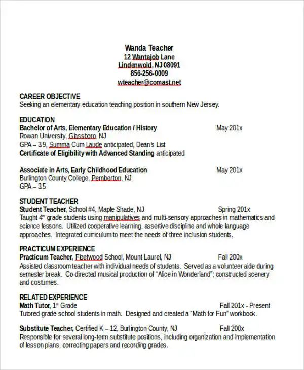 elementary teacher resume template word
