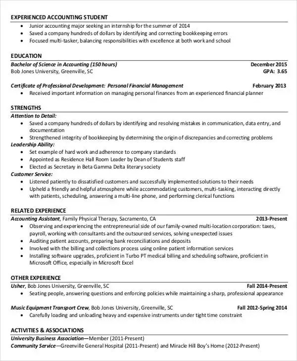 40+ Free Accountant Resume Templates - PDF, DOC Free  Premium
