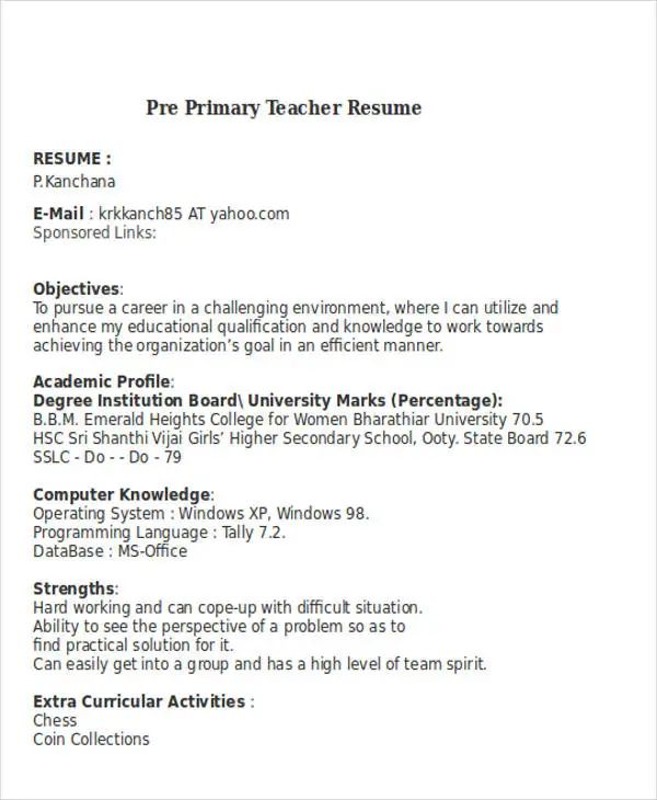 extra resume sample