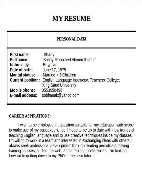 25+ Teacher Resume Templates in Word Free  Premium Templates - teacher resume format in word