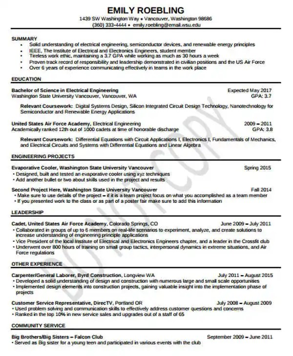 Electrical Engineer Resume Template Microsoft Word Cv Example Pdf