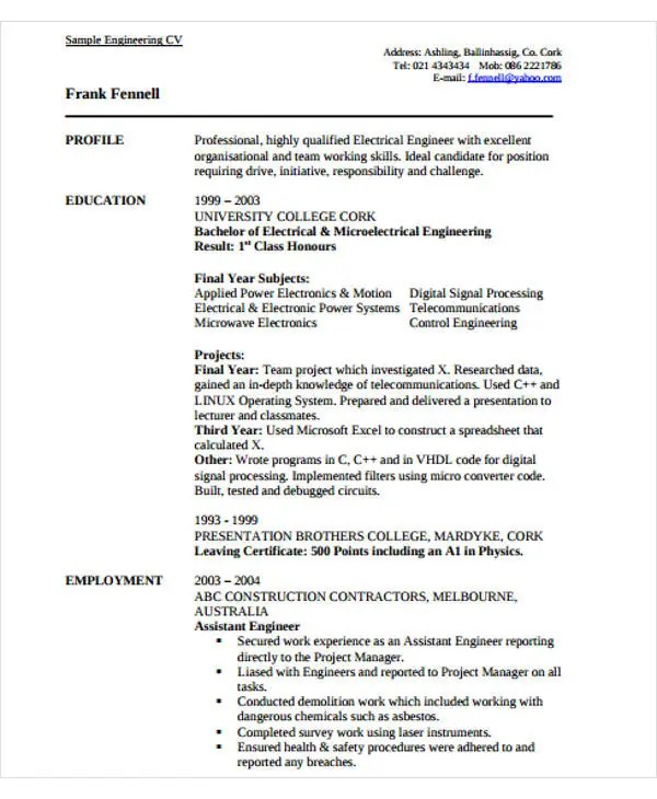 54+ Engineering Resume Templates Free  Premium Templates - Experienced Engineer Resume