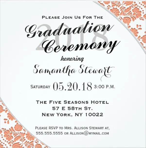 69+Sample Invitation Cards Free \ Premium Templates - graduation invitation template