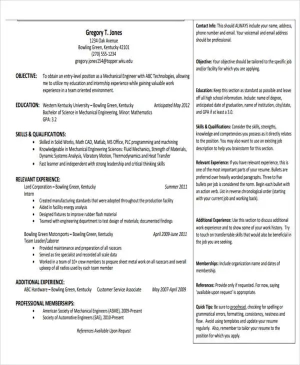 10+ Professional Fresher Resume Templates in Word, PDF Format