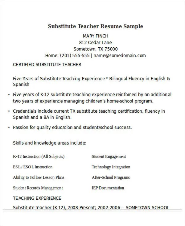 25+ Teacher Resume Templates in Word Free  Premium Templates