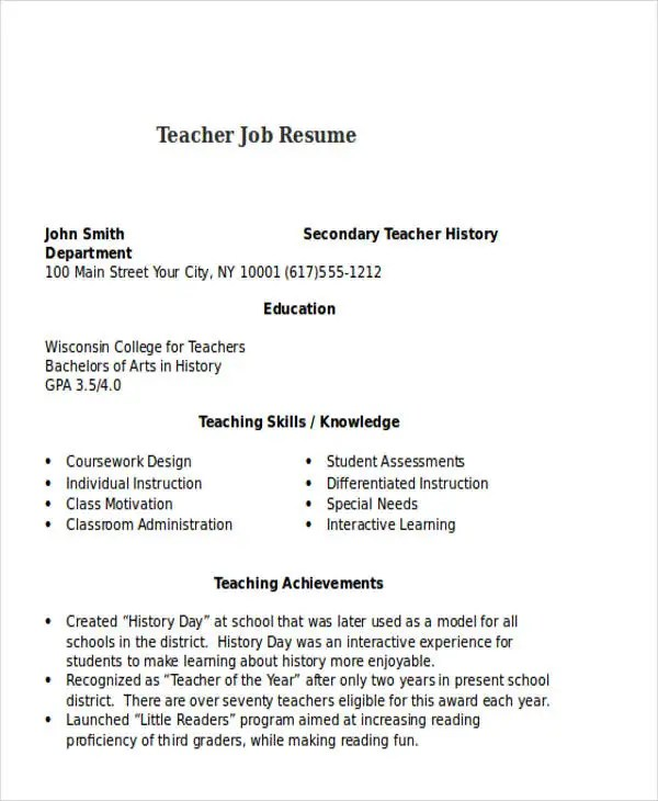25+ Teacher Resume Templates in Word Free  Premium Templates - teaching skills resume
