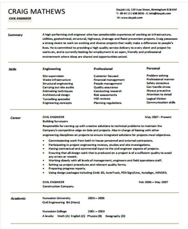 54+ Engineering Resume Templates Free  Premium Templates
