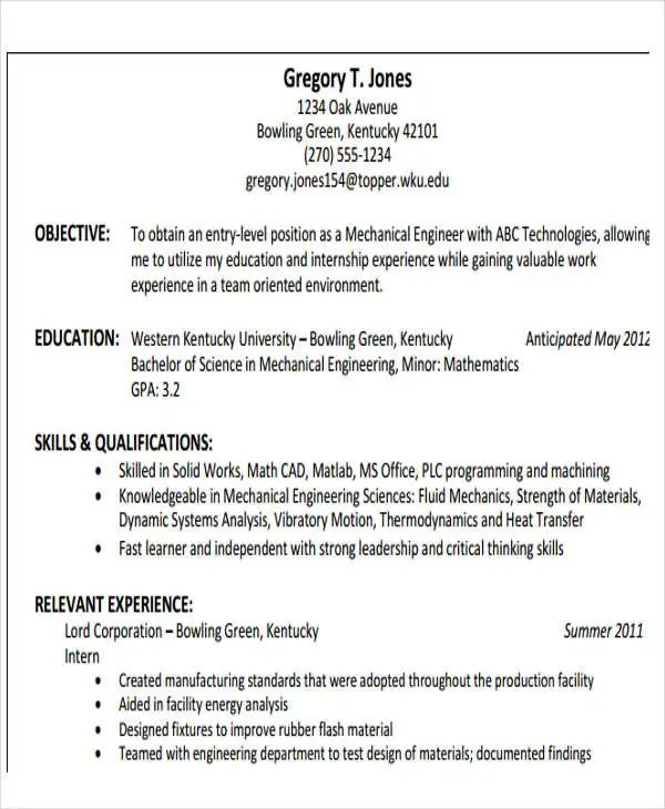mechanical engineering internship resume template