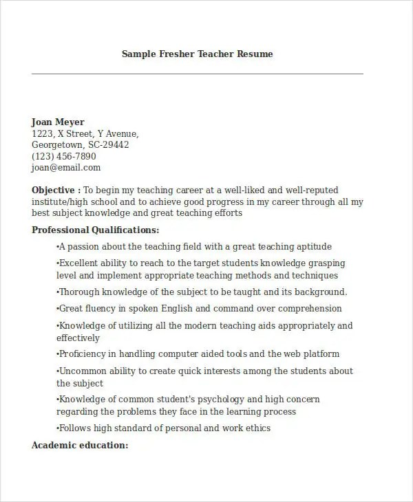 Teacher Resume Sample - 32+ Free Word, PDF Documents Download Free - latest resume format for teachers