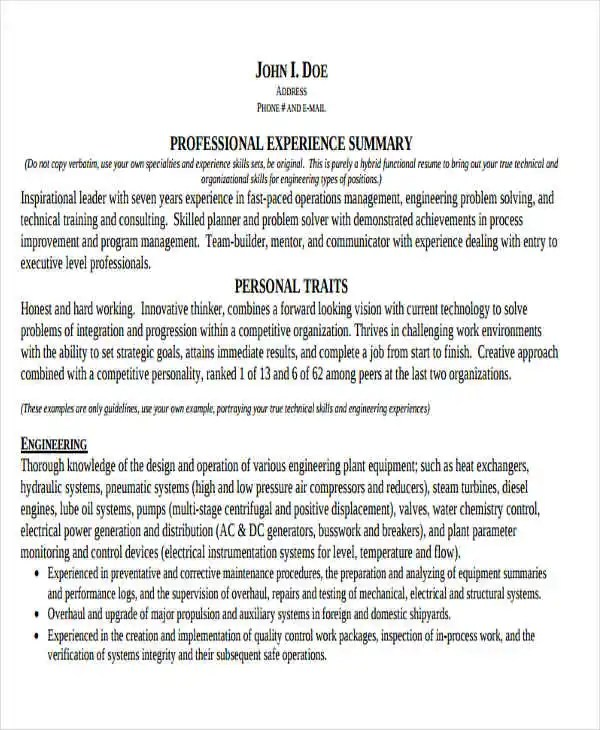 47+ Engineering Resume Samples - PDF, DOC Free  Premium Templates - technical resume examples