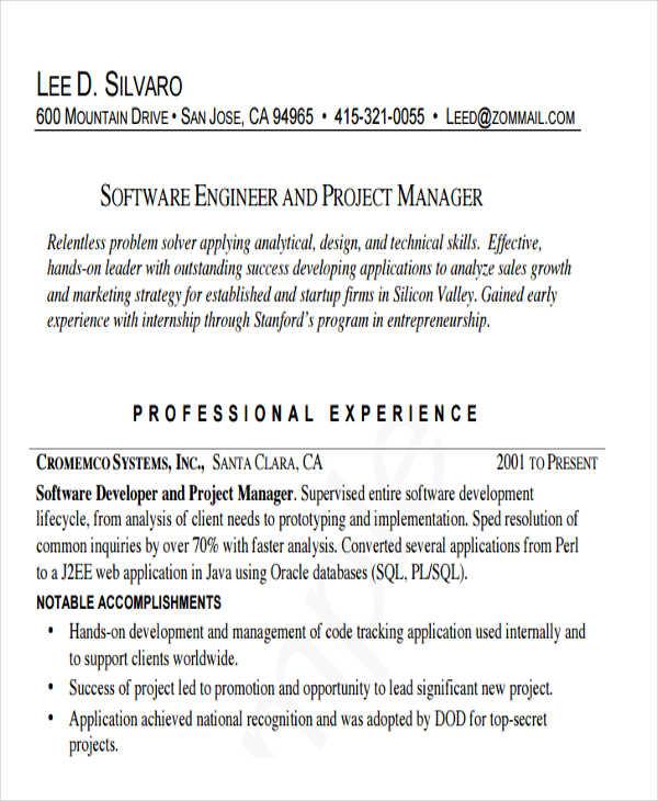47+ Engineering Resume Samples Free \ Premium Templates - software engineering manager resume