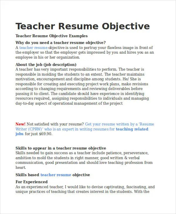 resume objective for teacher best sample resumes - Canasbergdorfbib