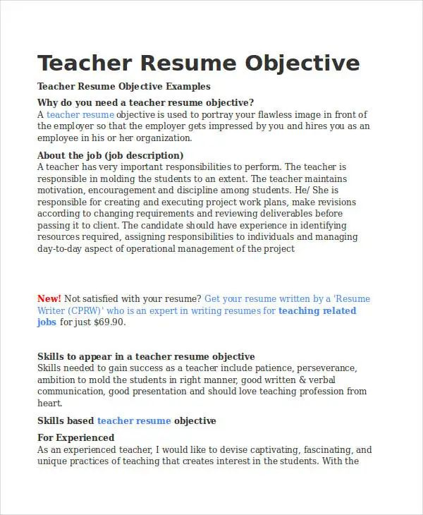 resume objectives for teaching