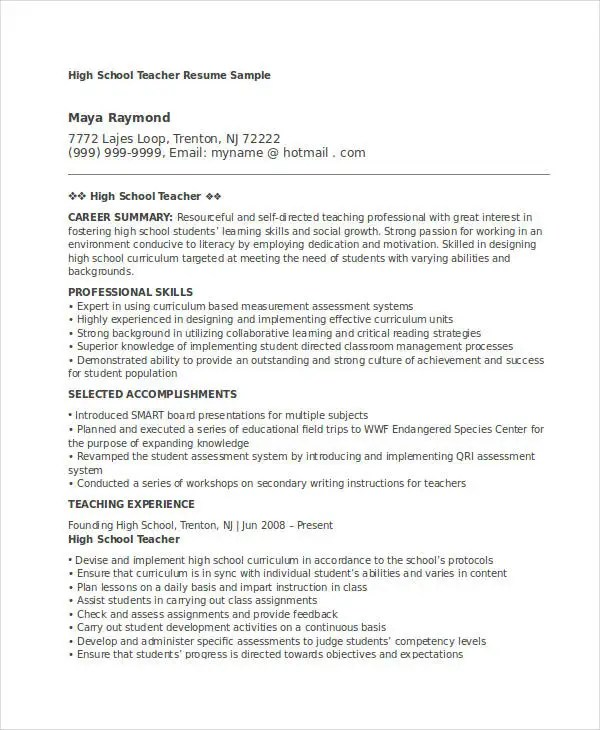 Teacher Resume Sample - 32+ Free Word, PDF Documents Download Free - sample resume for teachers without experience