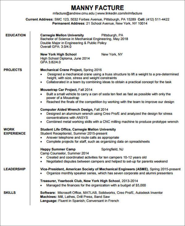 engineering resume templates download