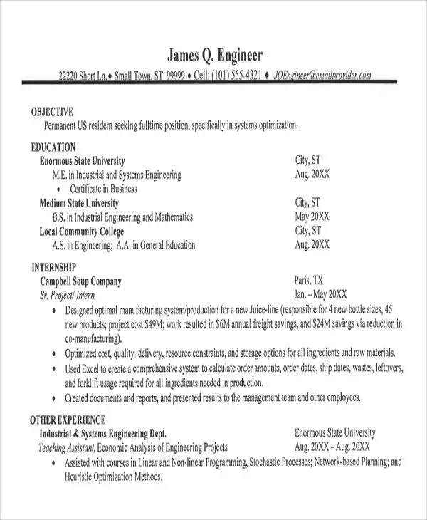 47+ Engineering Resume Samples - PDF, DOC Free  Premium Templates - short resume samples
