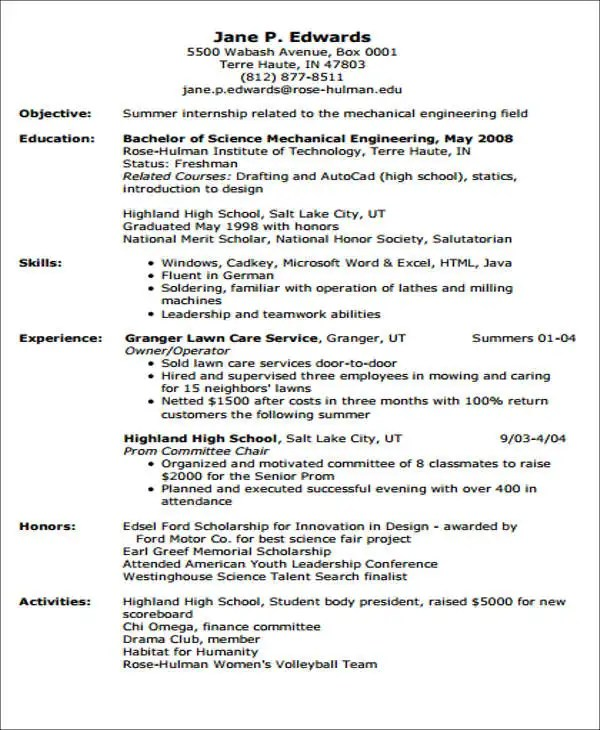 Entry Level Job Resume Template 20+ Engineering Resume Templates In Pdf | Free & Premium