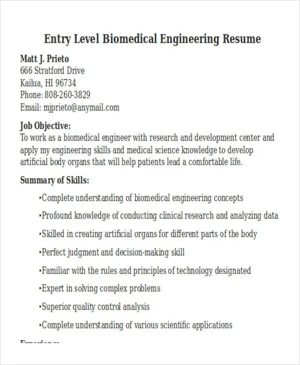 47+ Engineering Resume Samples Free \ Premium Templates - biomedical engineer resume