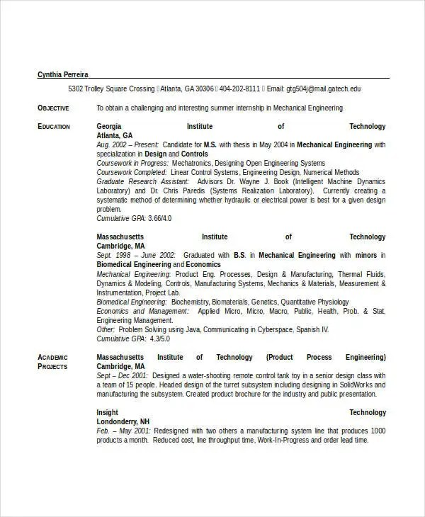 Engineering Resume Template - 32+ Free Word Documents Download - mechanical engineering student resume