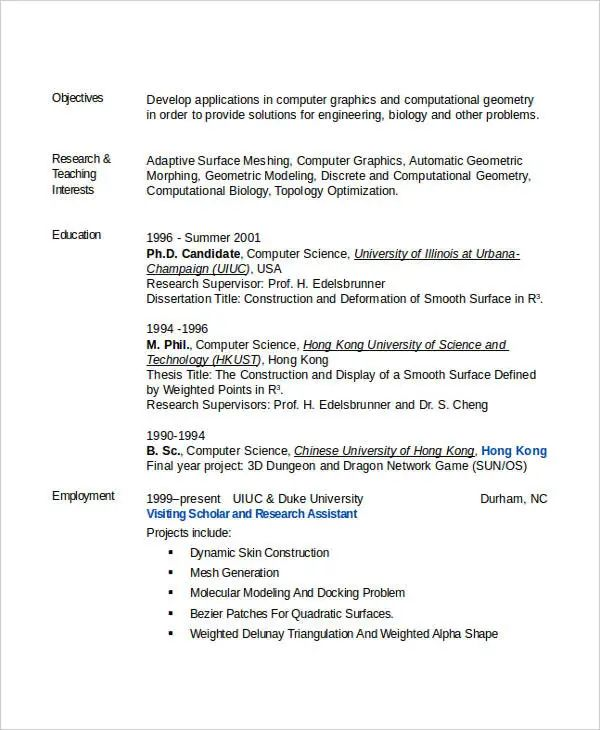 computer science resume example 2017