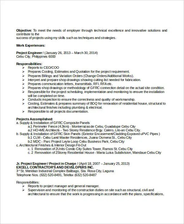 Resume Template Bioengineering