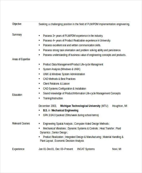 words to use in engineering resume