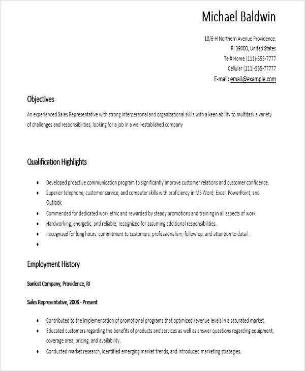 sales assistant sample resume
