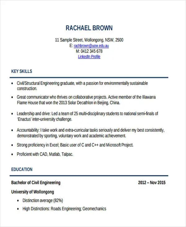 student resume samples 2017