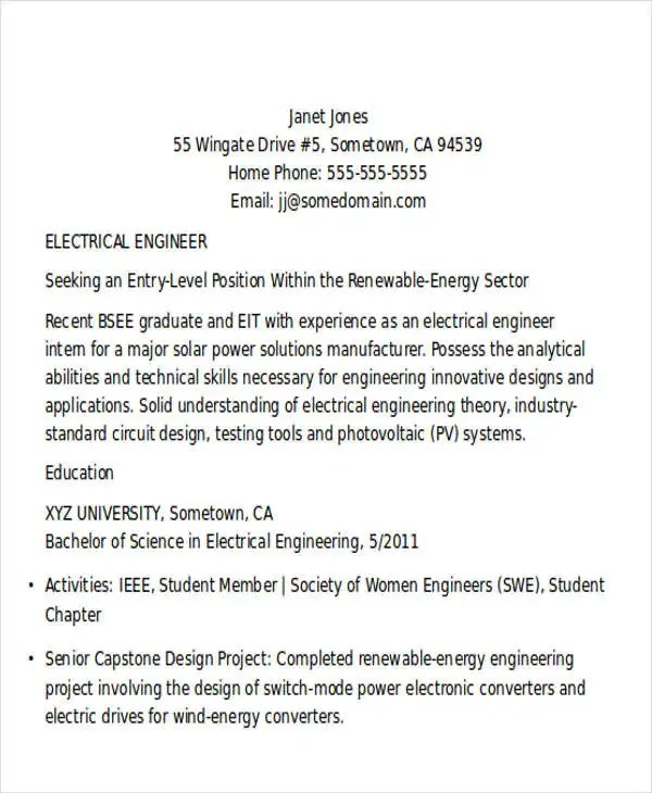 entry level electrical engineering resume resume template - Entry Level Electrical Engineer Resume