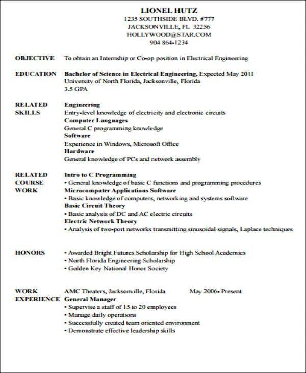sample internship in a resume