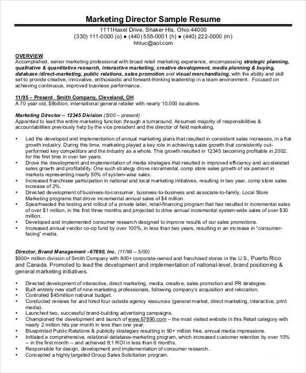 Executive Resume Examples - 27 Free Word, PDF Documents Download - managing director resume
