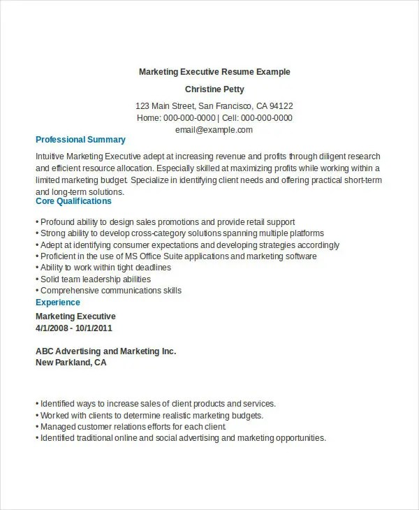 Senior Marketing Executive Resume Example \u2013 resume