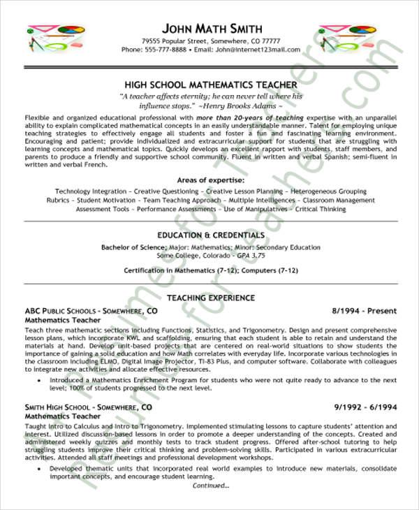 35+ Printable Teacher Resume Templates Free  Premium Templates - teacher resumes templates