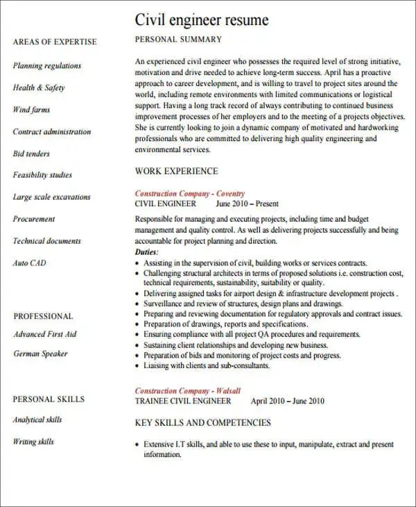sample resume of engineering graduate