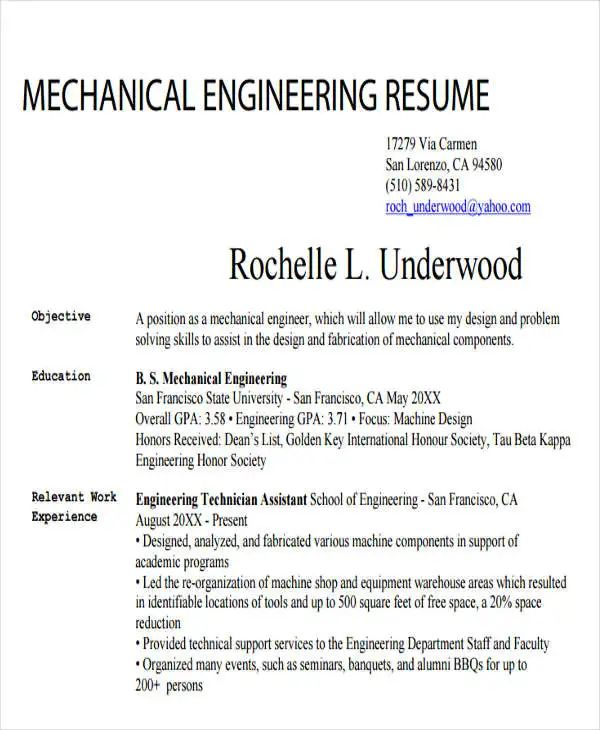 engineering student template resume