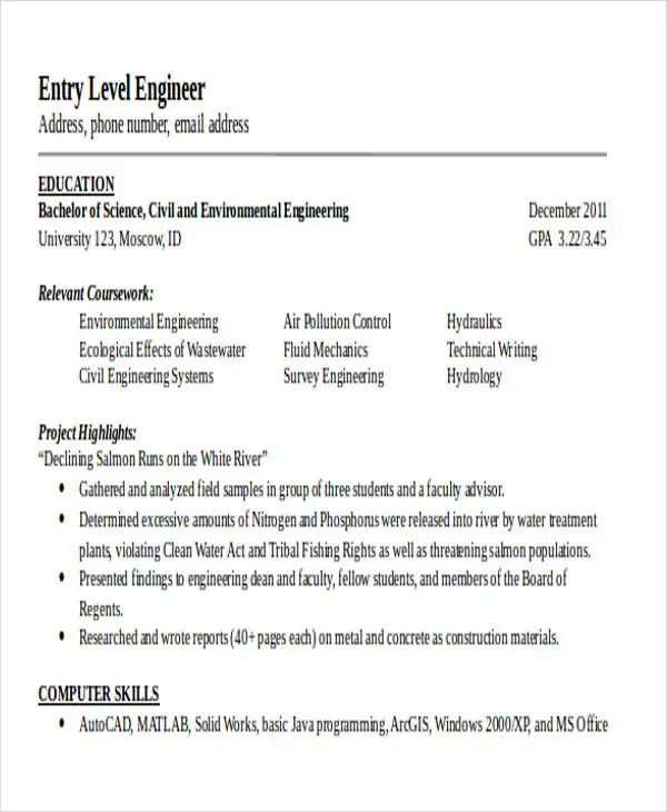 25+ Generic Engineering Resume Templates Free  Premium Templates - pollution control engineer sample resume